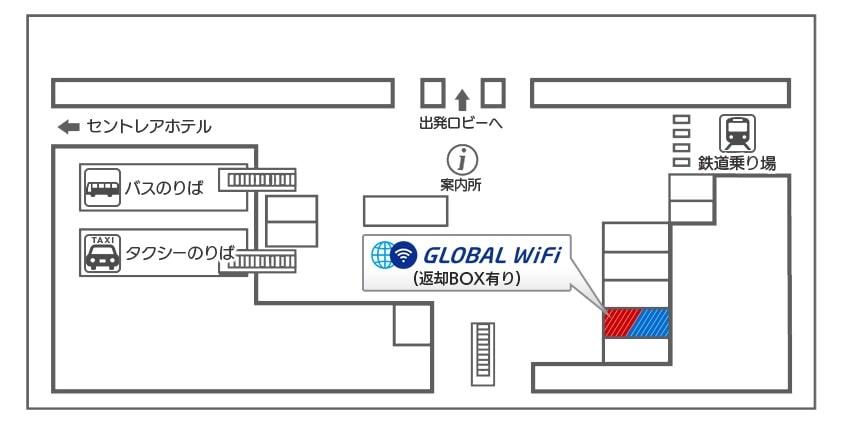 中部国際空港でのWiFiレンタルカウンター地図